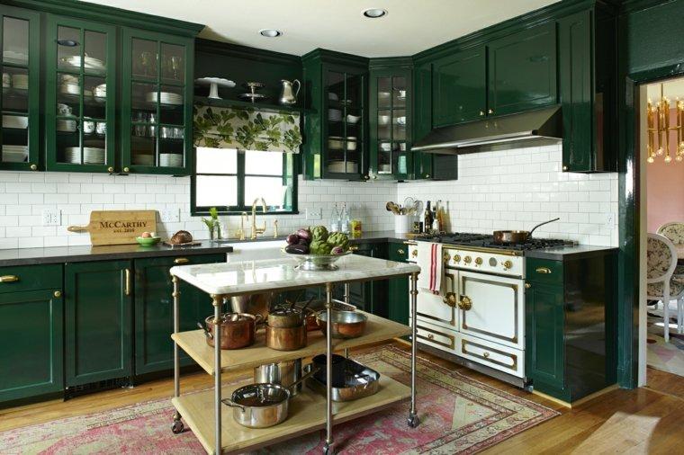 cocina diseno industrial moderno combinacion muebles verdes ideas