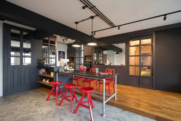 cocina diseno industrial moderno paredes negras sillas roja ideas