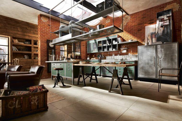 cocina diseno industrial pared ladrillo mesa estilo ideas