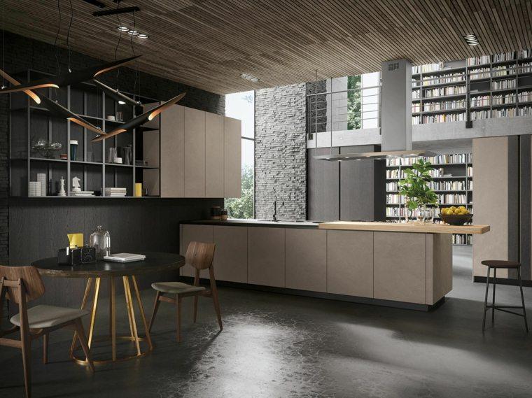 cocina estilo moderno decoracion industrial isla grande ideas
