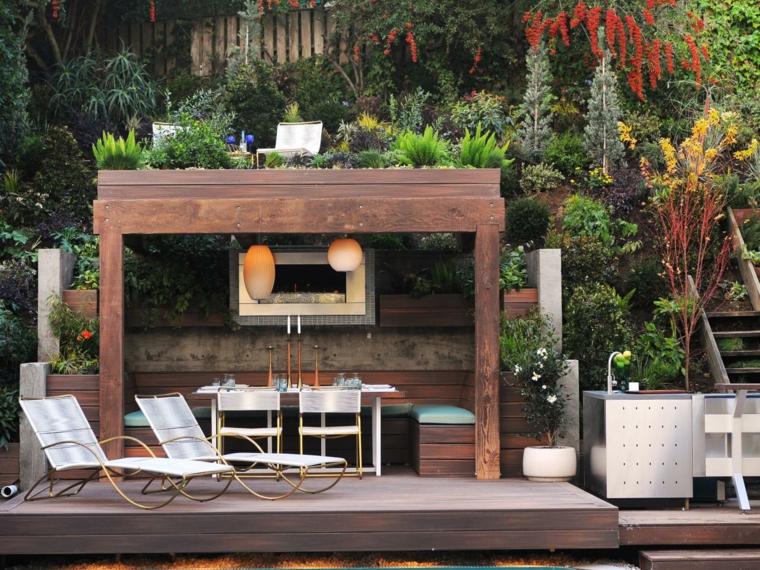 cocina exteriores maadera solida selva plantas