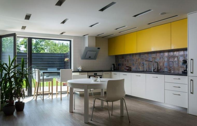 cocina moderna armarios amarillos Pominchuk Architects ideas
