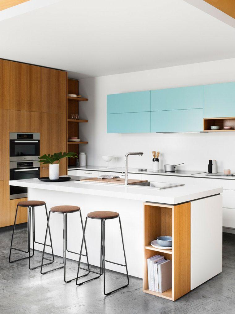 Cocinas modernas 42 espacio pr cticos y funcionales - Taburetes diseno cocina ...
