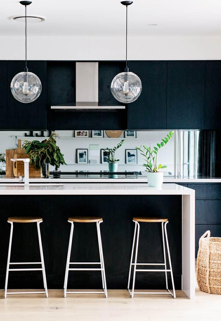 cocina muebles negros isla opciones ideas