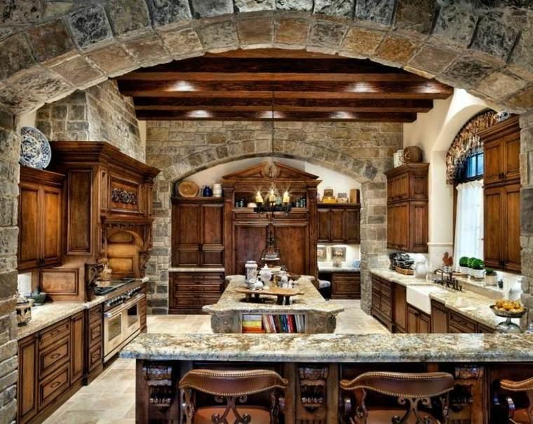cocina rstica piedra madera