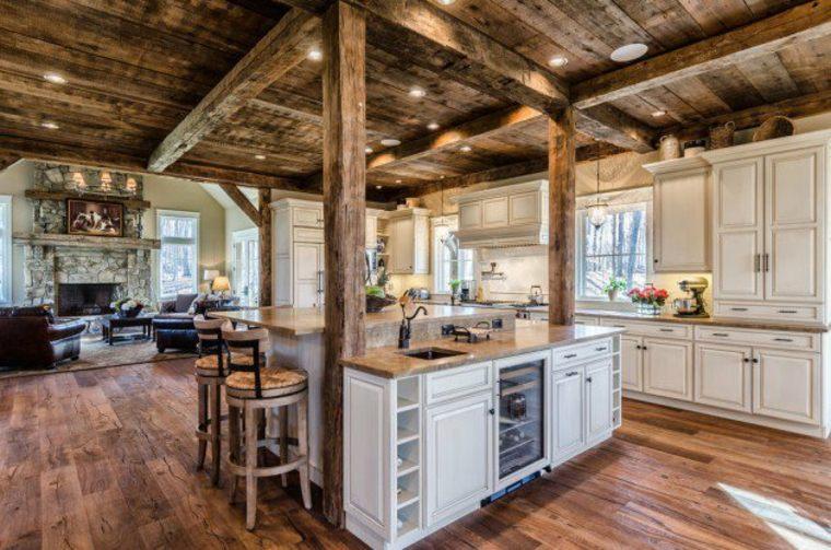 cocina rustica techo madera