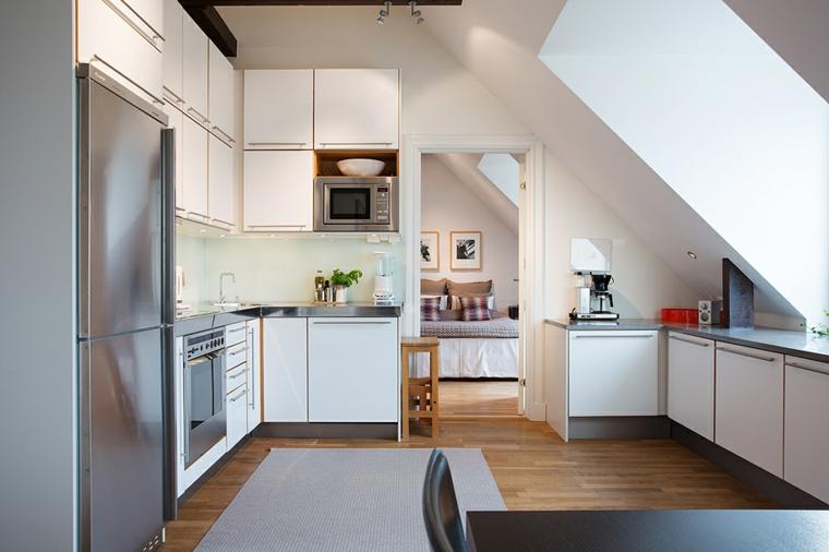 cocina techo luces naturales metales muebles