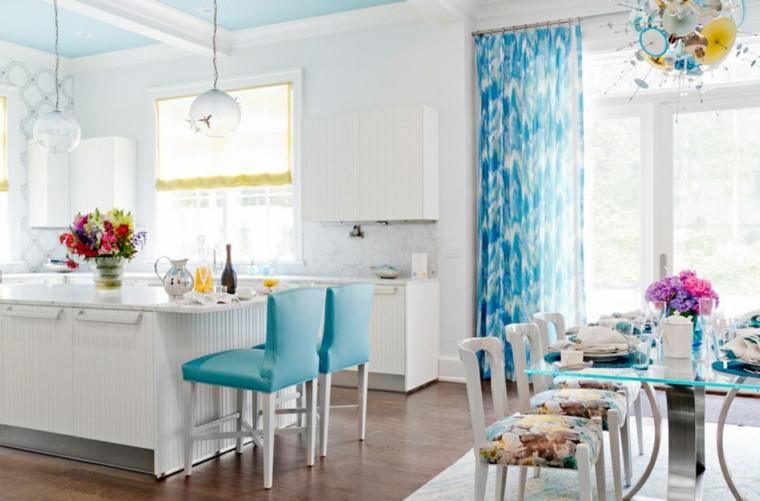 cocinas con cortinas decoradas