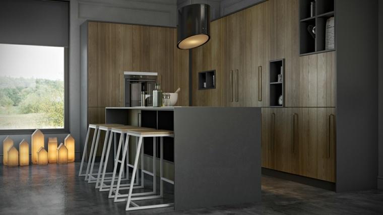 cocinas modernas diseno original gris puertas madera ideas