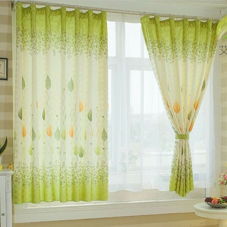 Cocina cortinas elegante pjaro plantas patrn ventana for Cortinas para puertas de cocina