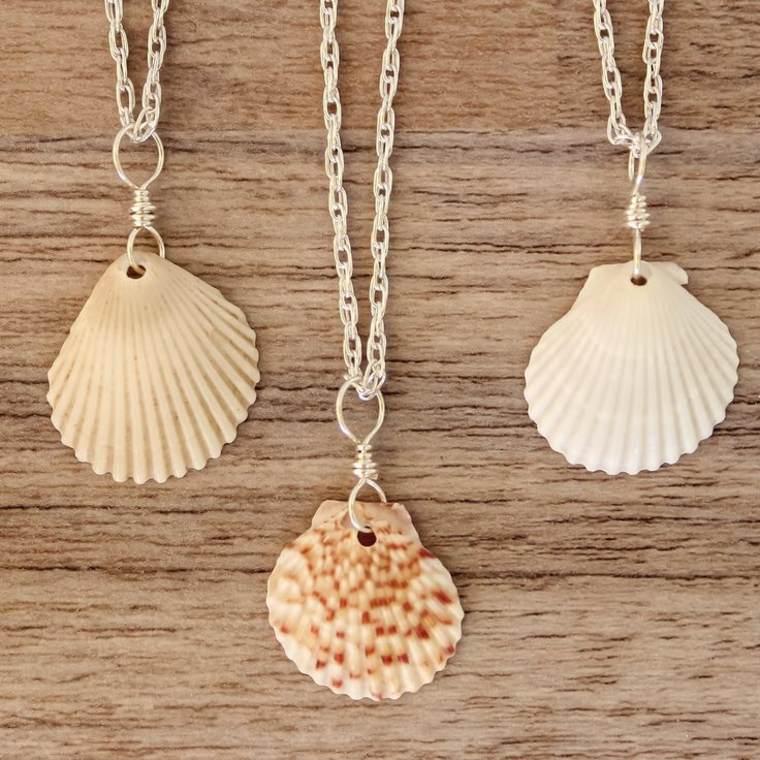 colgantes conchas marinas