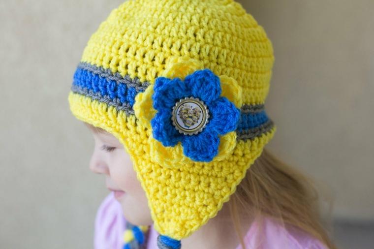 combinacion amarillo azul flor cabeza ninas