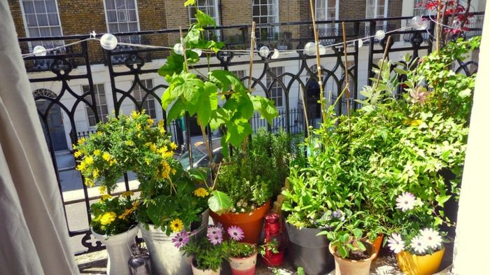 como decorar un balcon pequeño diversidad plantas luces pendientes
