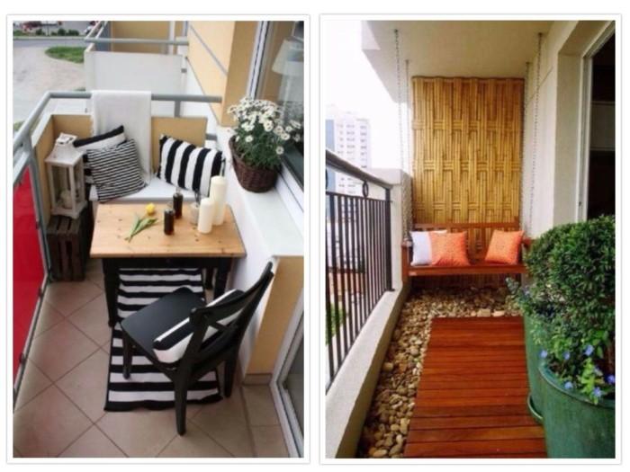 como decorar un balcon pequeño muebles madera velas