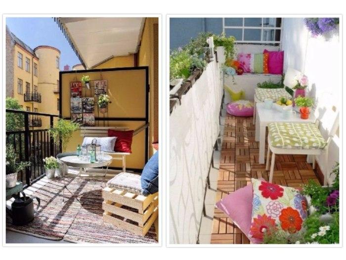 decorar balcon pequeño zona chill out lineas
