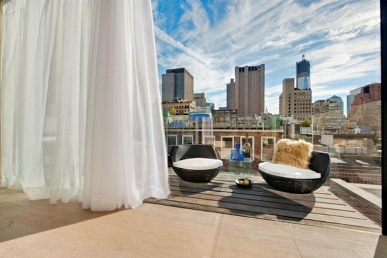 terraza moderna cortinas blancas