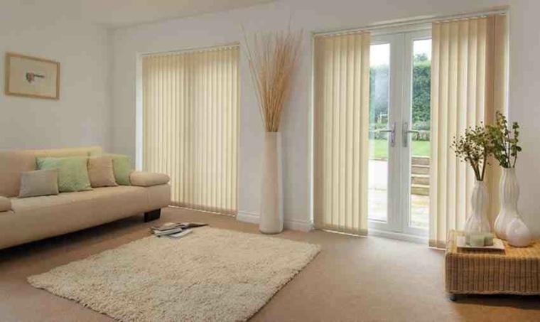 cortinas bandas verticales beige