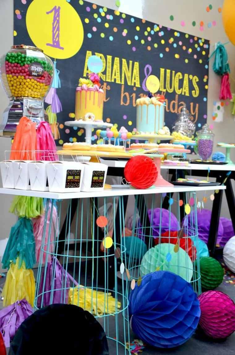 cumpleaños decoracion metales base mesa pizarra