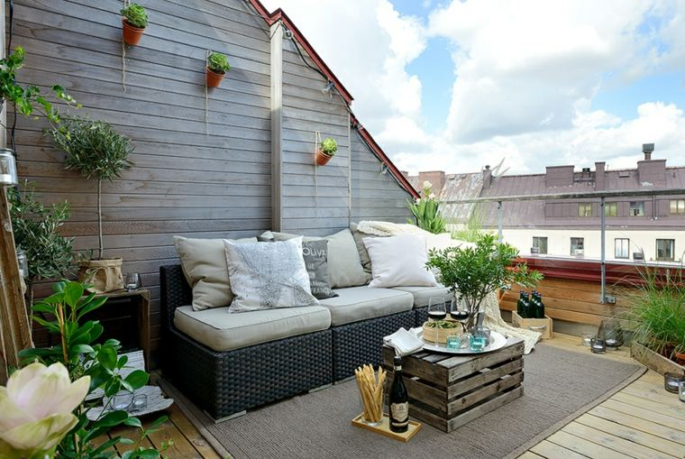 decoración de terrazas de áticos elegantes