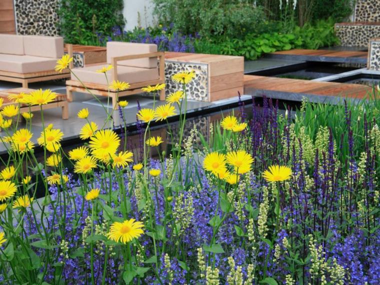 decoracion jardin amarillo colores muebles maderas