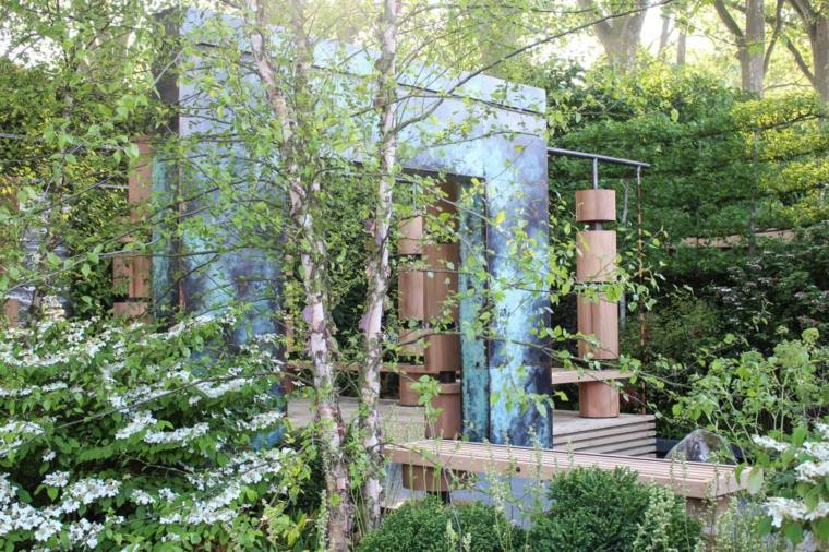 decoracion jardin bancos madera clara ideas