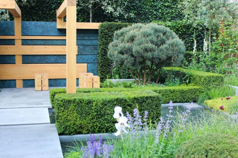 decoracion jardin formas geimetricas claras acero