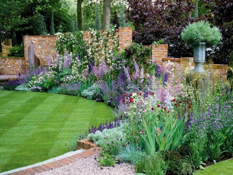 decoracion jardin lineas rectas conceptos materiales