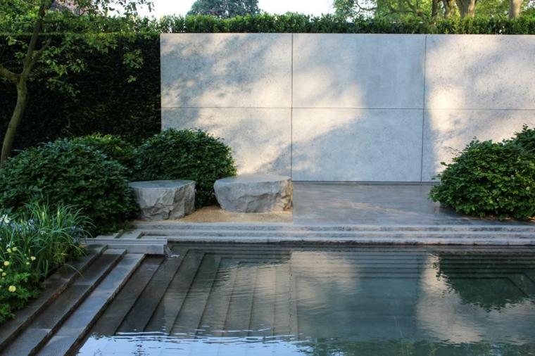 decoracion jardin paredes metal concreto piscina