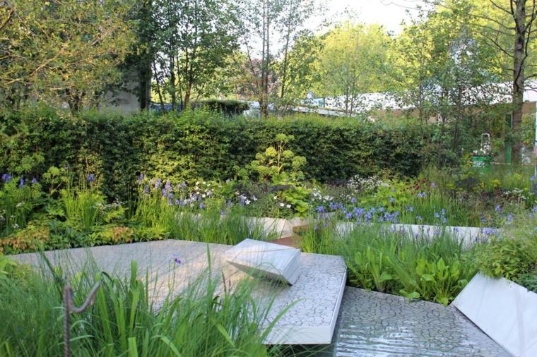 decoracion jardin puentes agua color escaladas