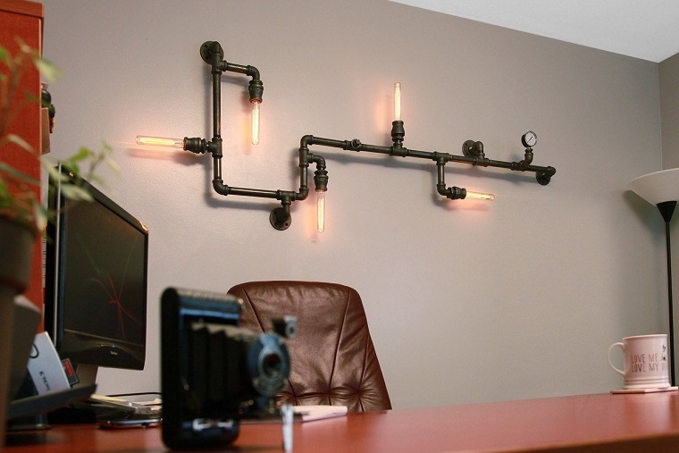 lámpara tubería cobre
