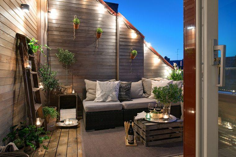 decoración terrazas áticos pequeños elegantes
