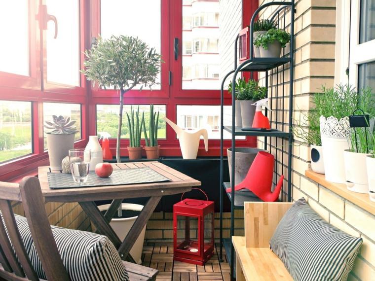 decorar balcones pequeños cerrados estilo moderno ideas