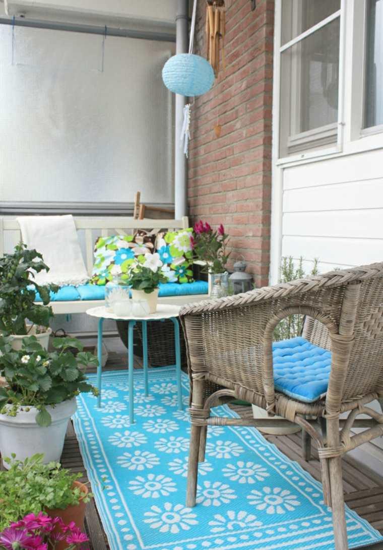 decorar balcones pequeños detalles color azul ideas