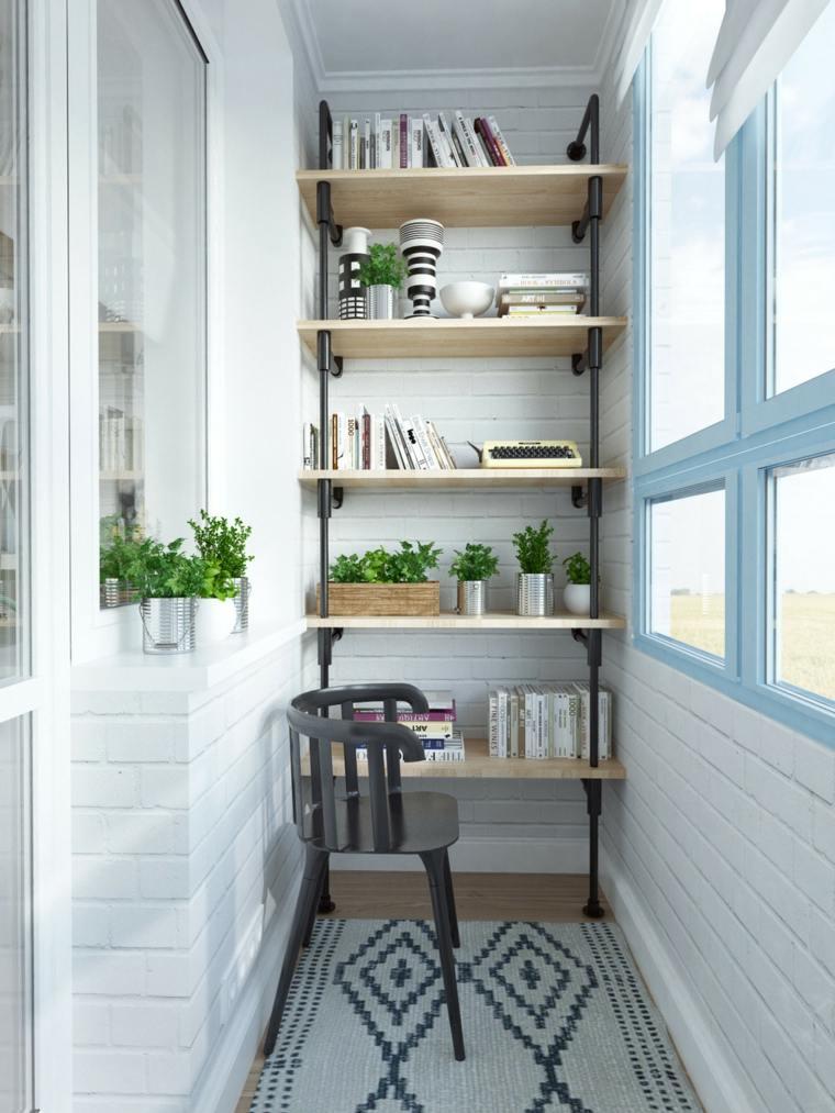 decorar balcones pequeños estanteria plantas ideas