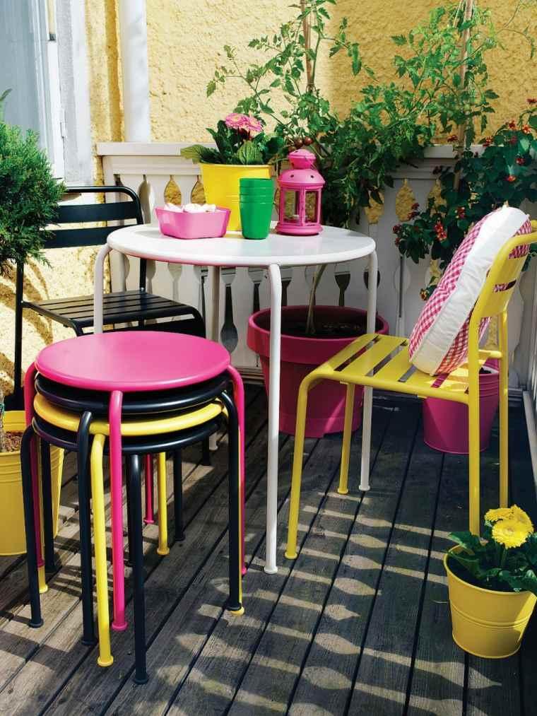 decorar balcones pequeños muebles coloridos ideas