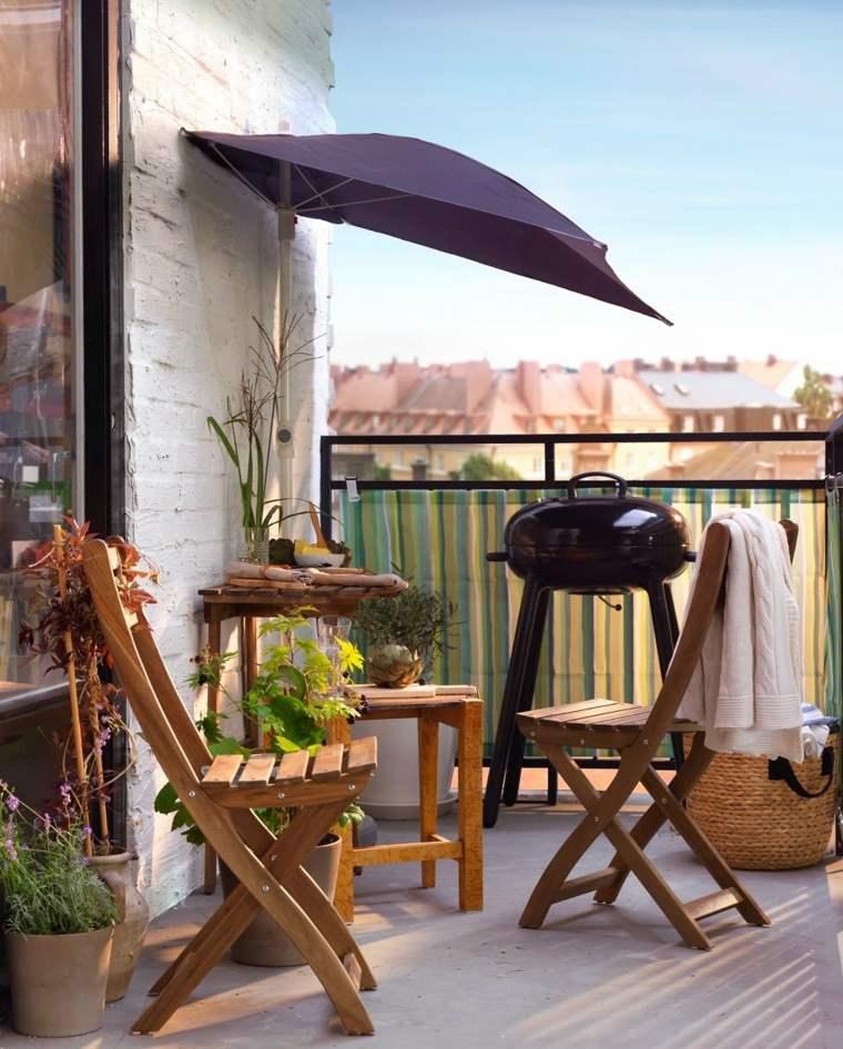 decorar balcones pequeños muebles madera ideas