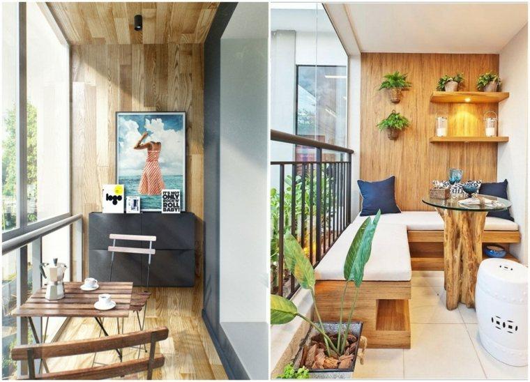decorar balcones pequeños paredes madera ideas