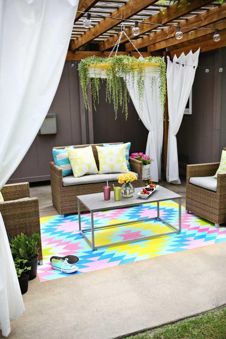 decorar terrazas barato alfombra pintada ideas
