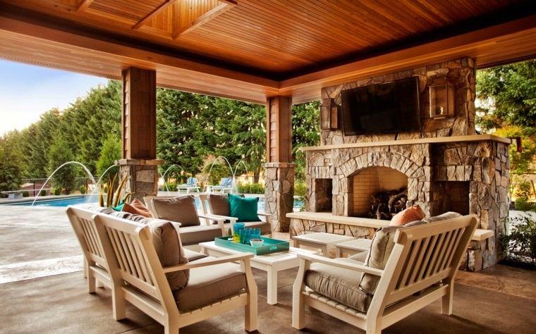 decorar terrazas barato chimenea exterior opciones ideas