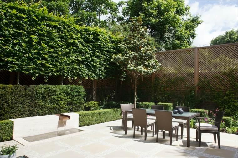 decorar terrazas barato fuente agua comedor ideas