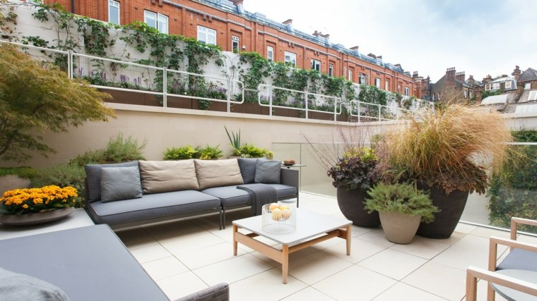 decorar terrazas barato macetas grandes ideas