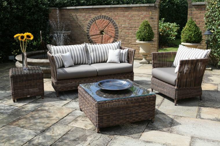 decorar terrazas barato muebles mimbre opciones ideas
