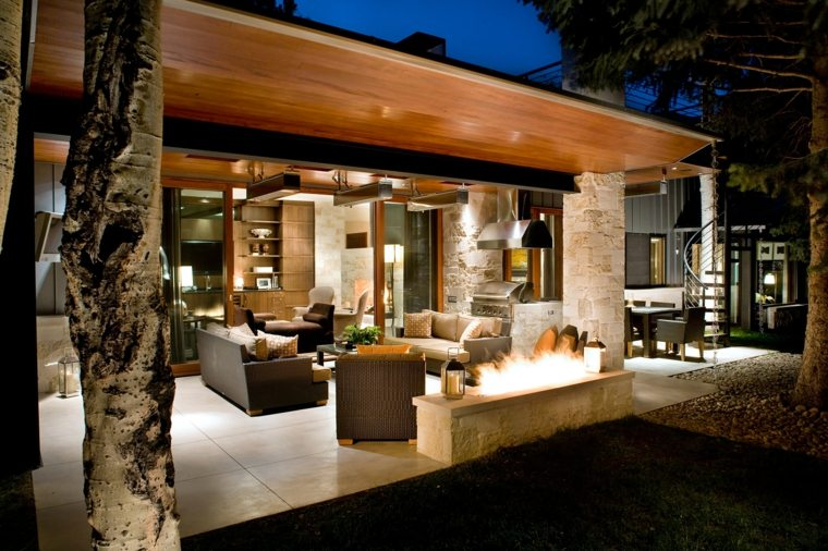 decorar terrazas barato pozo fuego ideas