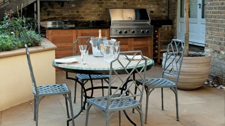decorar terrazas barato muebles acero idea