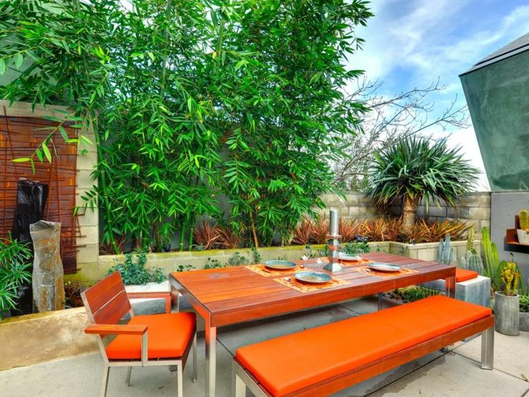 decorar terrazas ideas bambu colores velas