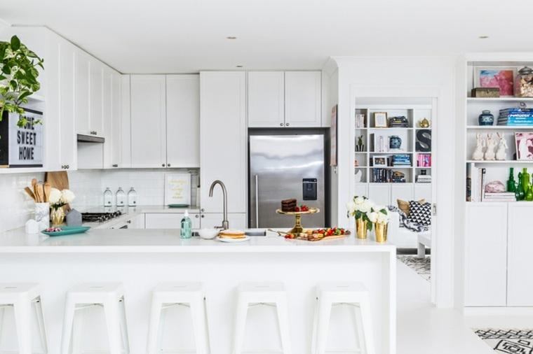 detalles modernos jarrones oro cocina blanco ideas