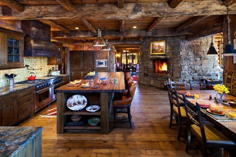 cocinas r sticas descubre las tendencias en piedra y madera. Black Bedroom Furniture Sets. Home Design Ideas