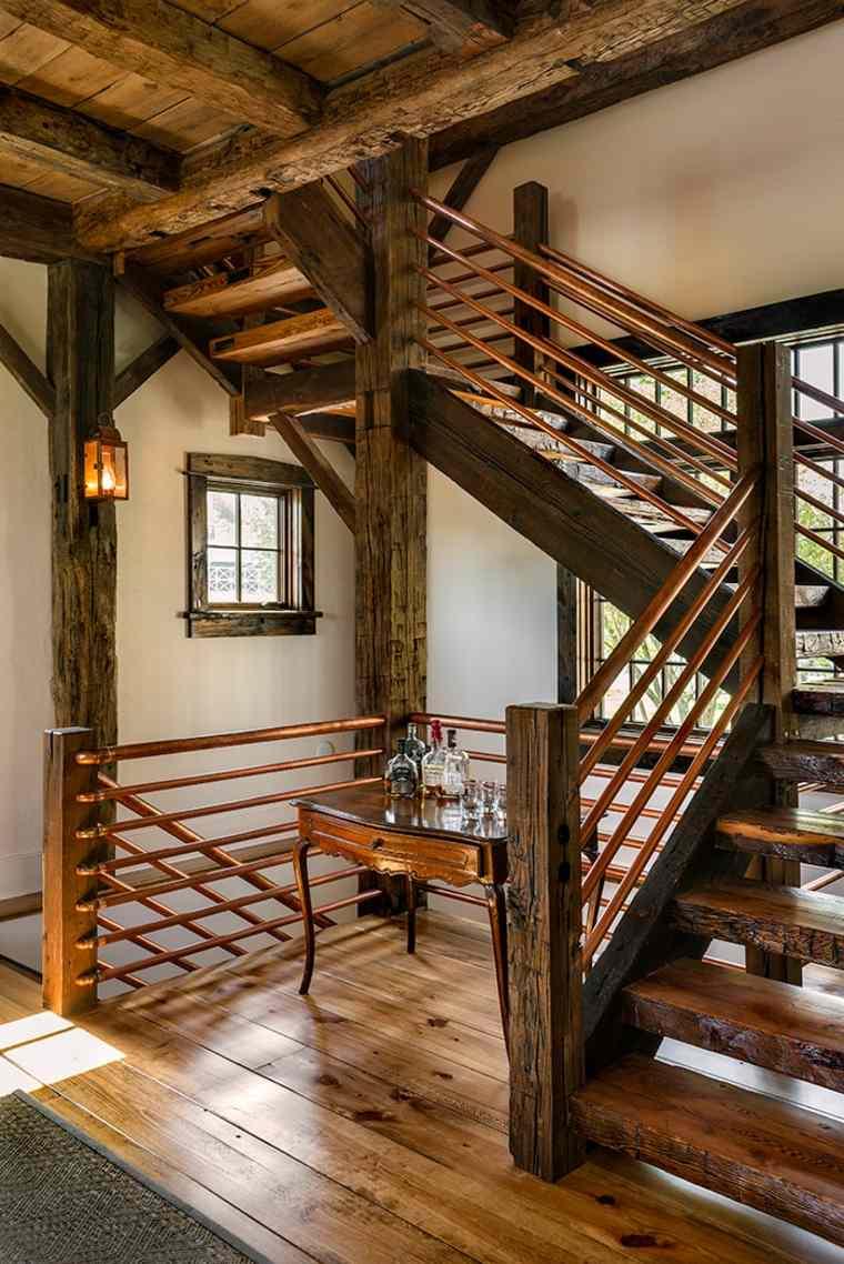 Escaleras r sticas de piedra y madera m s de 35 dise os - Escaleras de cristal y madera ...