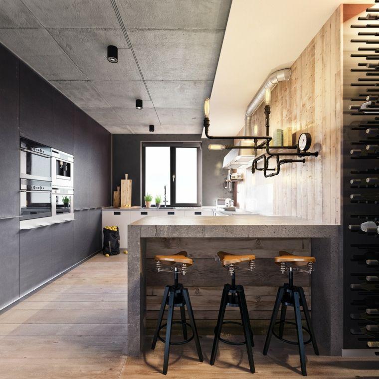 disenos de cocinas estilo industrial barra opciones ideas