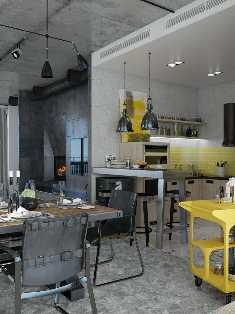 disenos de cocinas estilo industrial detalles amarillo ideas